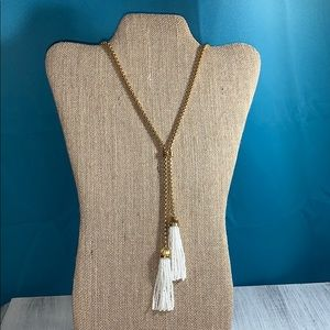 NWT. J. Crew white and gold tassel necklace
